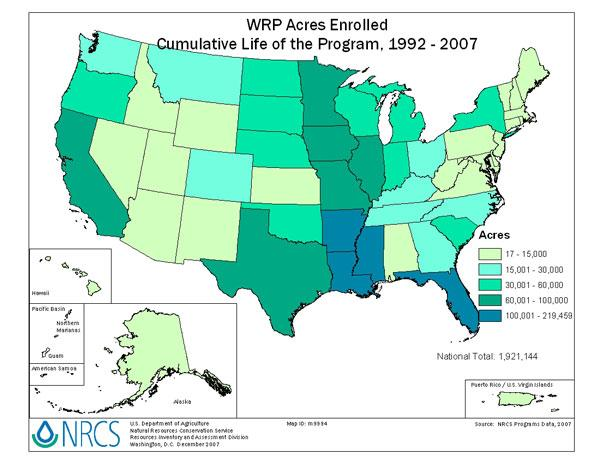 Figure 1. WRP Acres Enrolled by state http://www.nrcs.