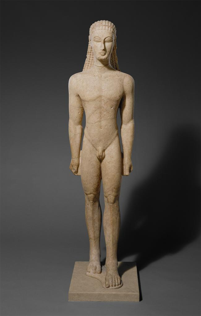 Statue of a kouros (youth) A reinterpretation of the ancient Greek kouros figures (see Figure 29), Noguchi s sculpture was the antithesis of these classical monuments.