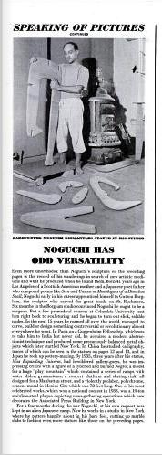 234 Interestingly, despite MoMA s recognition of Noguchi as an American artist, a spread in Life magazine from the same year and that featured Kouros, called into critical focus Noguchi s Japanese