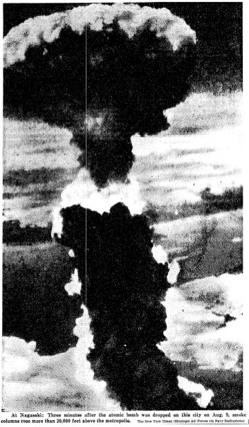 Figure 32. First Atomic Bomb Already Obsolete, New York Times Japan surrendered on August 15, effectively ending World War II on all fronts.