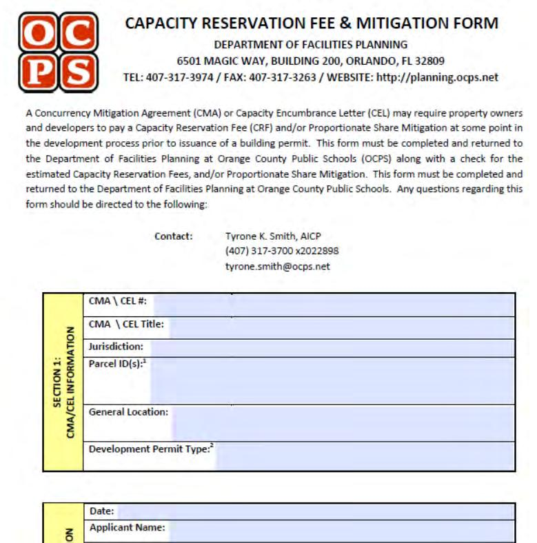 Capacity Reservation Fee Form