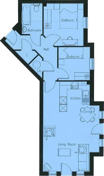 Floorplans & Dimensions for Connaught Park, Tunbridge Wells Apartments 198 & 202 Lounge / Dining / Kitchen 23 4 x 14 8