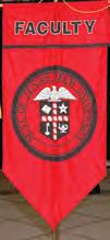 COLLEGE BANNERS The banners displayed at Texas Tech University commencement ceremonies are patterned on military, political, and trade guild insignia that date back to the Middle Ages and beyond.