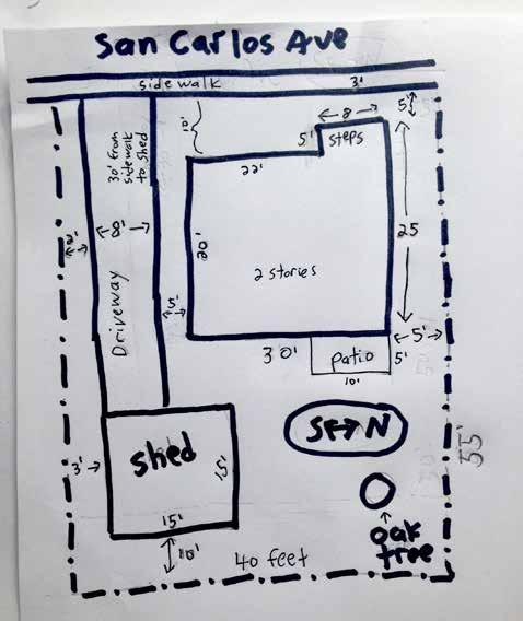 The site plan needs to be drawn to scale eventually, but to start you should use scratch paper. If the site plan is feeling too stressful, you can skip it for now.