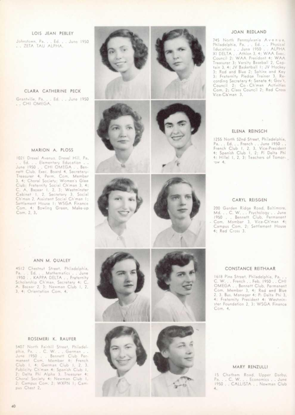 German raternity Campu nnett 4 Com June ptain LOIS JEAN PEBLE Y Johnstown, Pa Ed June 1950 ZET A T AU ALPH A CLARA CATHERINE PEC K Grantville, Pa, June 1950 CHI OMEG A JOAN REDLAN D 745 N orth