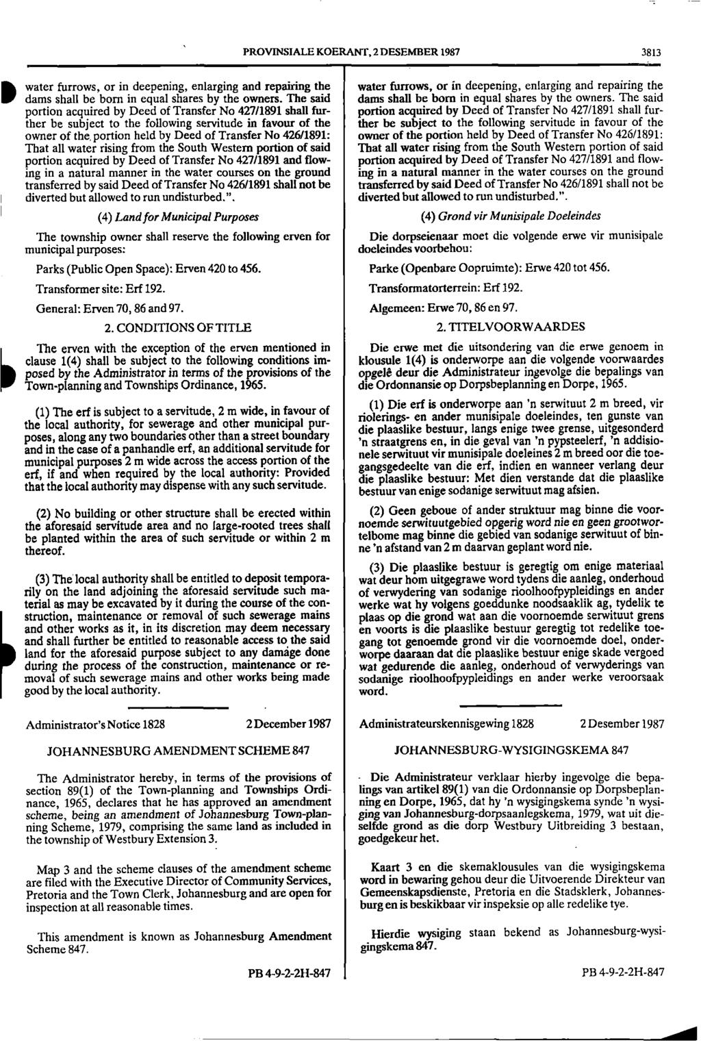 =.a a PROVINSIALE KOERANT, 2 DESEMBER 1987 3813 water furrows, or in deepening, enlarging and repairing the water furrows, or in deepening, enlarging and repairing the li.