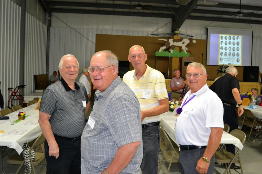 Old BHS friends visiting at the banquet included in front Rick Parent (BHS 1965) and