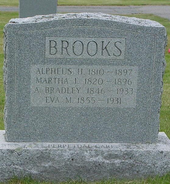 Brooks Cress Alpheus H., 1810-1897 Martha L., 1820-1896 A.