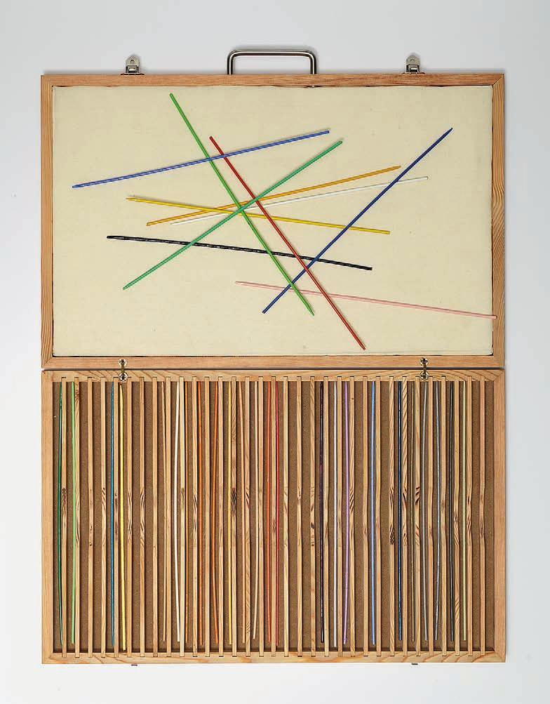 ABRAHAM CRUZVILLEGAS Autoconclusión, 2015 For Parkett 97 Wooden briefcase, with 34 bamboo wood sticks in 34 different