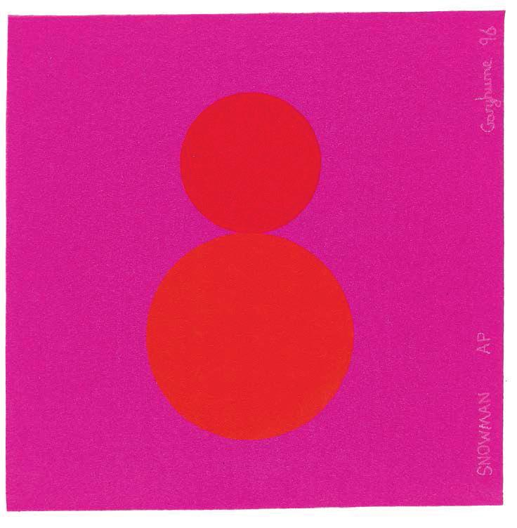 GARY HUME Snowman, 1996 For Parkett 48 Silkscreen on pink felt, printed by Print