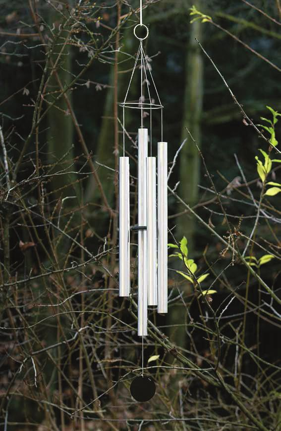 PIERRE HUYGHE All But One, 2002 For Parkett 66 Windchime for outdoor use, 5 hand-tuned aluminium tubes, 1 3 /8 (6,1 cm) diameter each, top hanging ring 2 (5,2 cm), black cord, black wood striker,