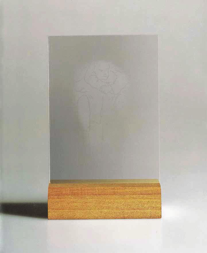 JUAN MUÑOZ Augenblick (Glimpse), 1995 For Parkett 43 Hand-etched glass, the image becomes momentarily