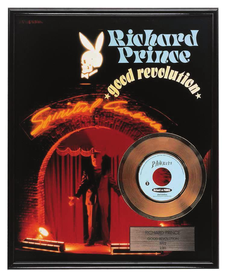 RICHARD PRINCE Good Revolution, 1992 For Parkett 34 Presentation gold record with engraved plaque mounted on C-print, framed, includes a playable vinyl record by the artist, recorded both sides, Good