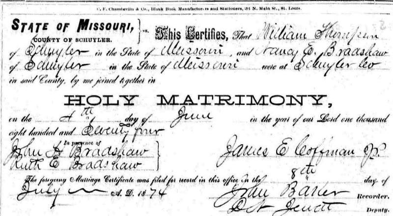 Schuyler Co., Marriages {671} 4 Sep 1873 McCullum, Adam #za6 Dowlin, Elizebeth m. @ Red Dowlin s residence by Madison Kelley, J. P. witnesses: Wm.