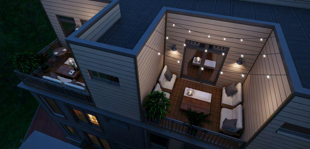 off the living area as well as rear and front facing rooftop decks.