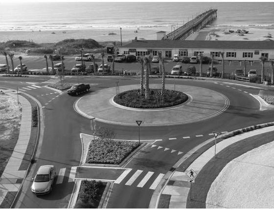 Modern roundabouts are generally much smaller than older traffic circles, and require vehicles to travel at a lower speed.