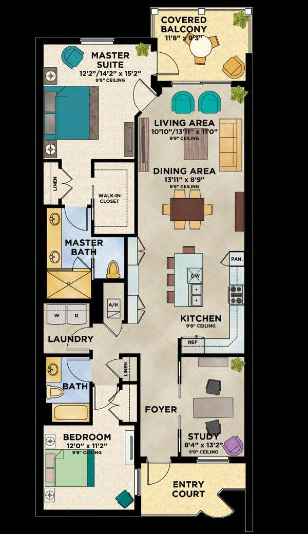 2 Bedrooms, 2 Baths, Study oceanside Living Area/Architectural 1,565 S.F. Balcony Area 121 S.F. Living Area/Engineering 1,686 S.F. 1,487 S.F. * Living and balcony area will vary per stack location and level.