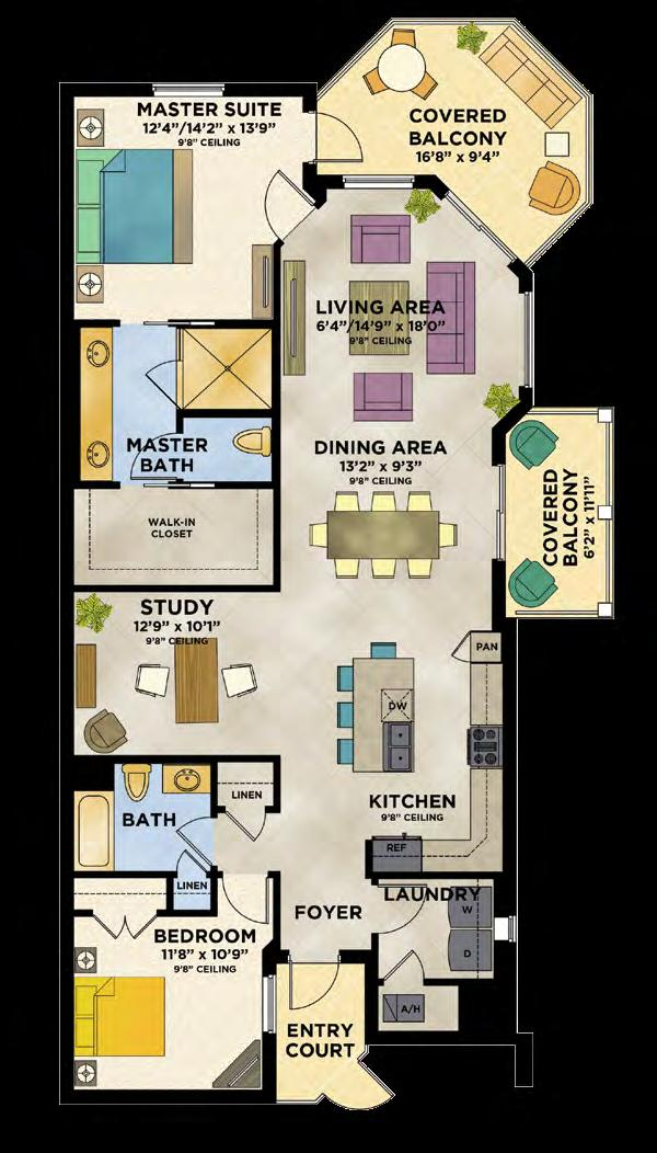 2 Bedrooms, 2 Baths, Study oceanside Living Area/Architectural 1,590 S.F. Balcony Area 258 S.F. Living Area/Engineering 1,848 S.F. 1,491 S.F. * Living and balcony area will vary per stack location and level.