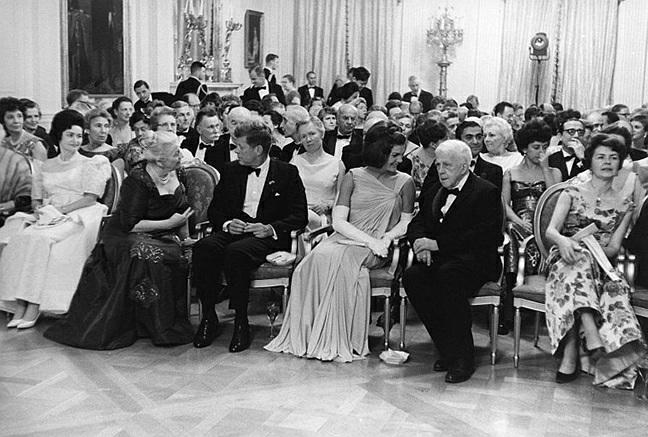 Robert Frost (front row, second from right) with, from left, Lady Bird Johnson,