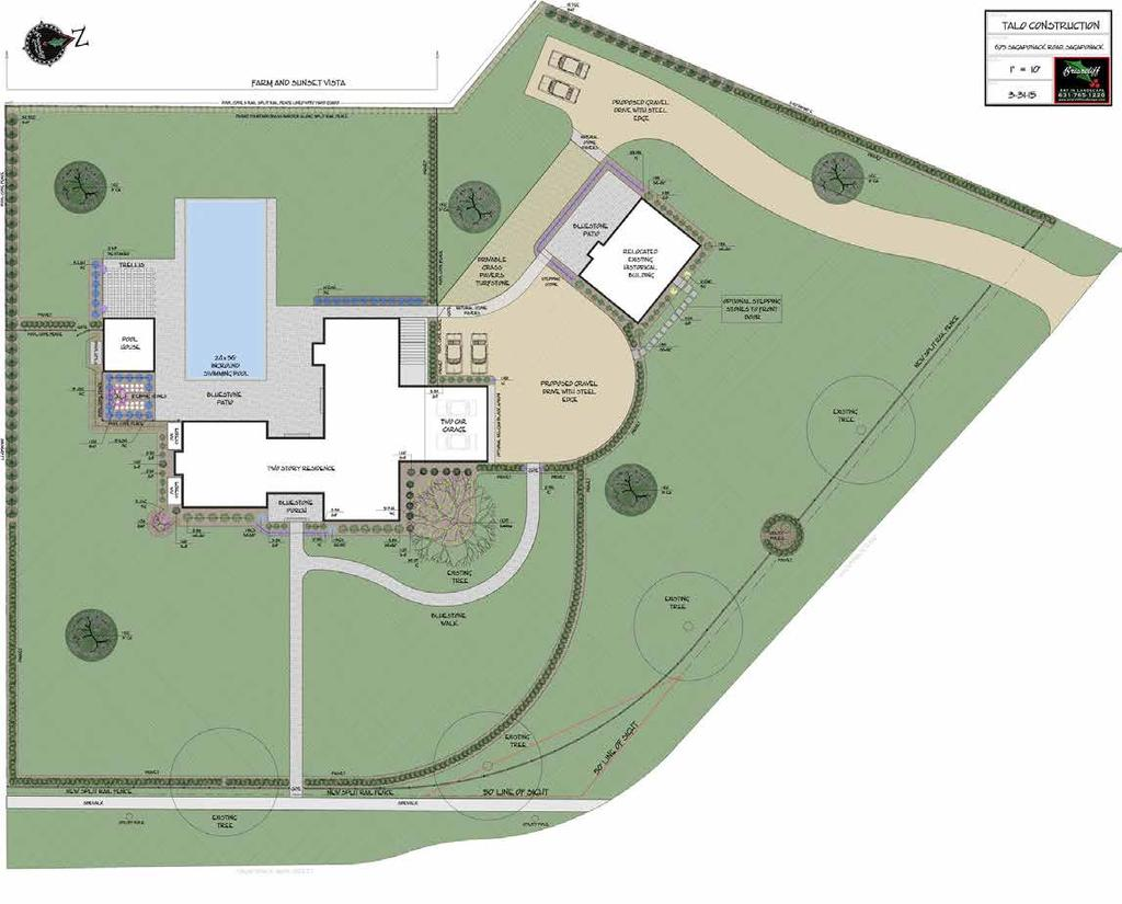 SITE PLAN 24' x 56' Heated Saltwater Gunite Pool and Large Spa with Waterfall Feature Pool House with Kitchenette Full Bath and Sauna Underground Tunnel Connecting Separate