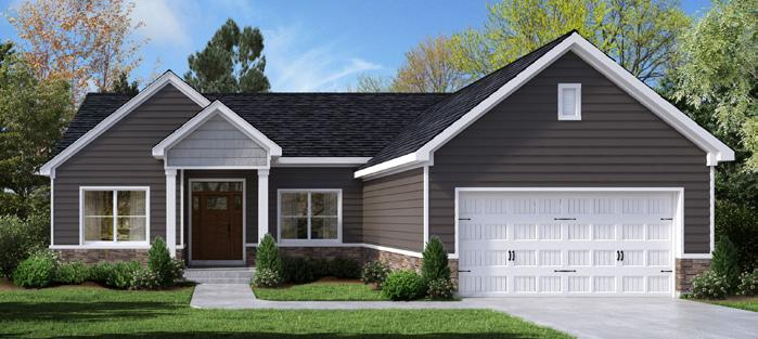 THE OAKWOOD Upgraded C elevation shown 2 Bedroom or Optional 3rd Bedroom 2.