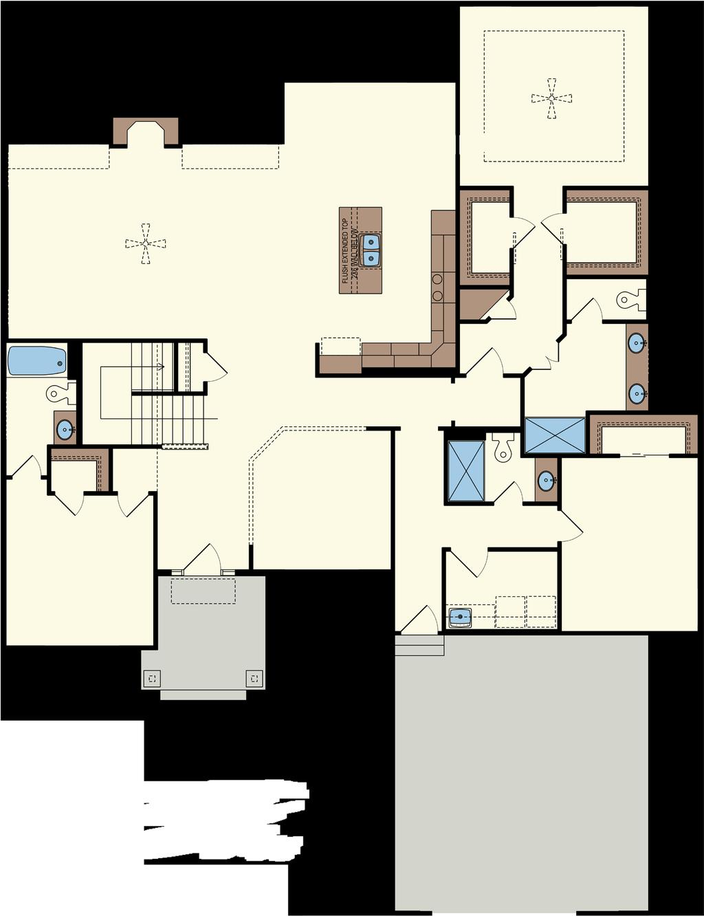BEDROOM -CLASSIC FLOORPLAN - w/ Third Bedroom & Basement NOOK Optional Pan Ceiling 8 into trusses Foyer: 7 x 10 Great Room: 22 x 15 Nook: 13 x