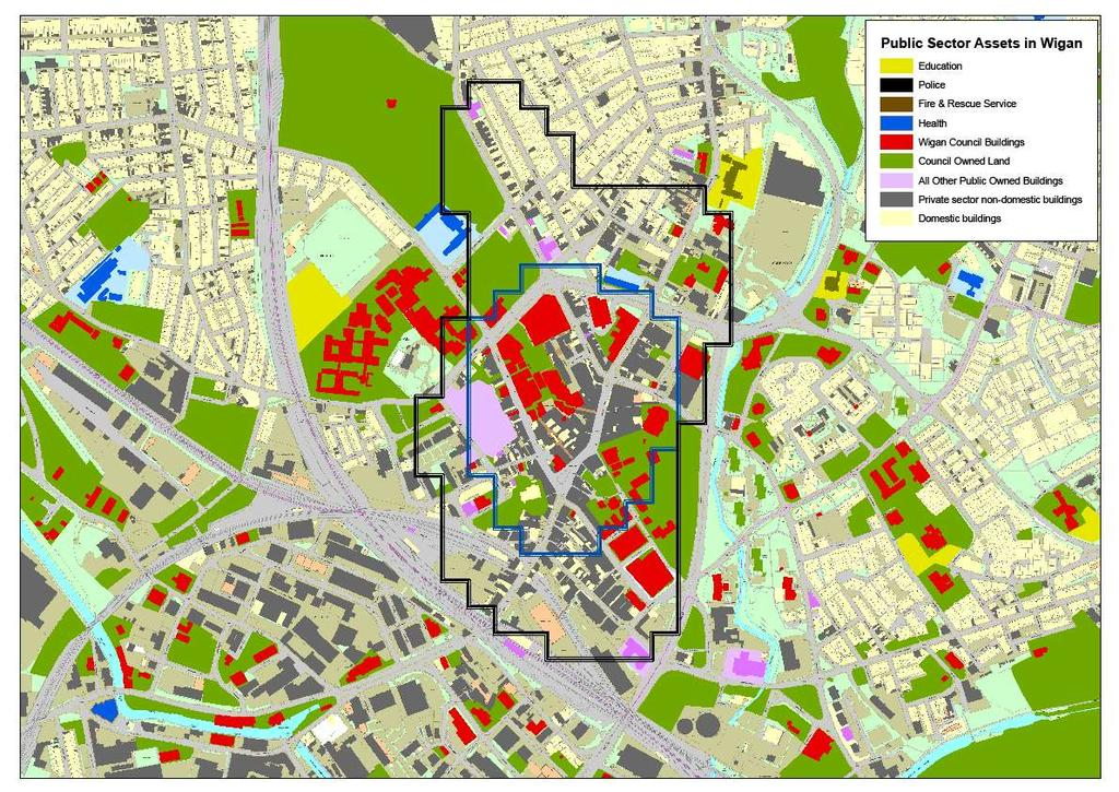 Public land: local lens Town Centre (black boundary) Of the 590 non-domestic buildings in the town centre, 156 (28%) have been identified as public sector Retail Core (blue boundary) Of the 370
