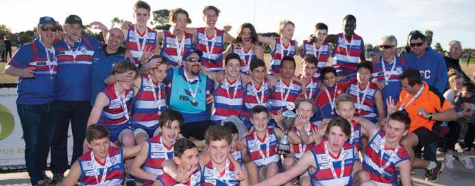 34 2017 WRFL Annual Report JUNIOR GRAND FINALS UNDER 14 DIVISION 1 TEAM P W L D % PTS Point Cook 12 12 0 0 591.76 48 Caroline Springs 12 10 2 0 387.46 40 Williamstown Juniors 12 8 4 0 293.