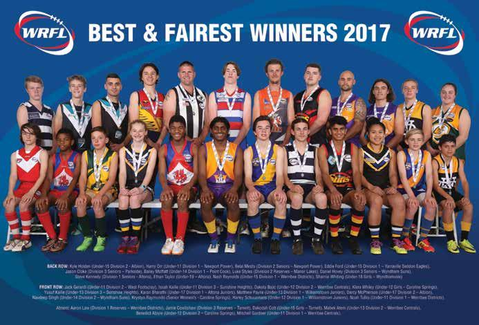 WRFL Annual Report 2017 43 2017 BEST & FAIREST WINNERS DIVISION NAME CLUB VOTES Div 1 Seniors Steve Kennedy Altona 23 Div 1 s Aaron Law Werribee Districts 13 Under 19s Ethan Taylor Altona 20 Div 2