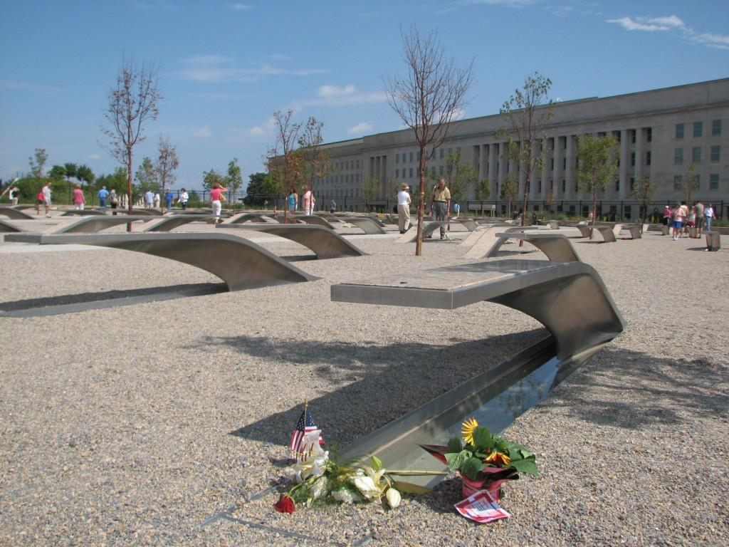 'memorial units', marking the names of each of the victims With mathematical precision, the units are aligned to the flight path of Flight 77 Those who died in the plane are represented by benches