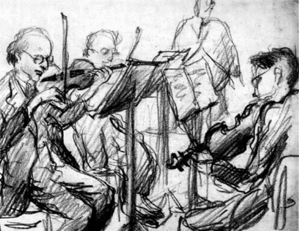 Petr Kien, Study of Doctrine Quartet, Theresienstadt, circa 1943 cultural elites of Theresienstadt, including Pavel, to Auschwitz-Birkenau; of the Emperor musical ensemble, only Pavel Kling and