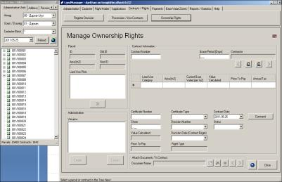 LandManager Graphical User interface Managing non-spatial data on applications for land rights and other land