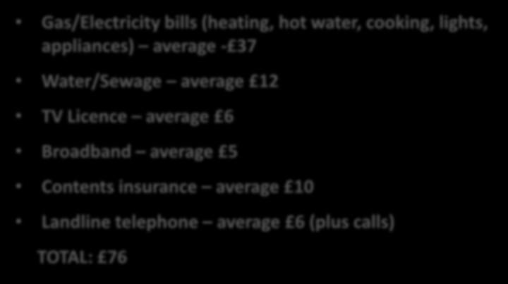Gas/Electricity bills (heating, hot water, cooking, lights, appliances) average - 37 Water/Sewage average 12 Contents TV Licence insurance average 6 average 10 TV Broadband