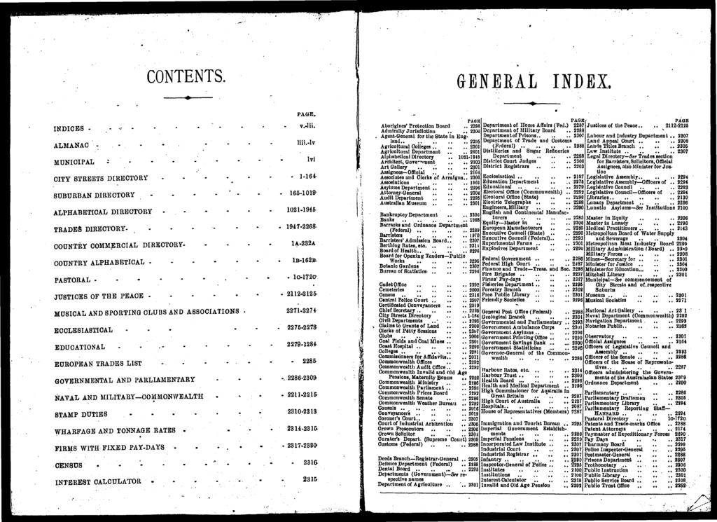 CONTENTS. GENERAL INDEX. INDICES ALMANAC.