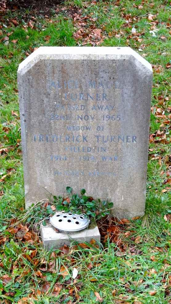 ALICE MAUD TURNER (WIDOW OF FREDERICK TURNER)DIED 22 ND