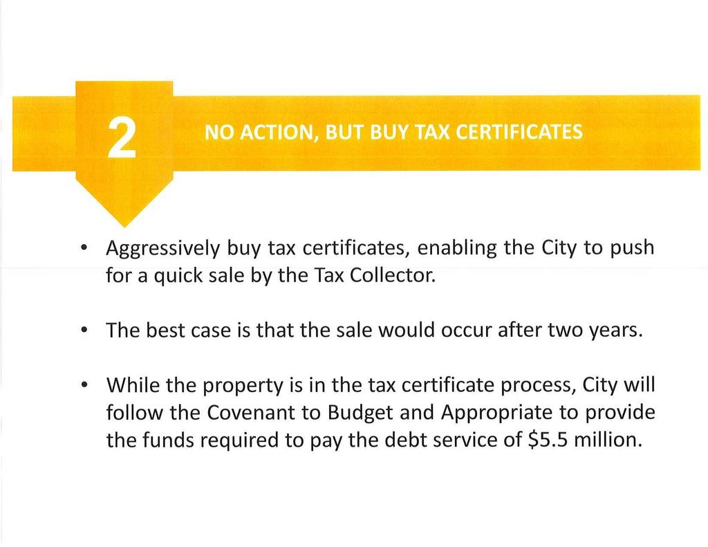 Aggressively buy tax certificates, enabling the City to push for a quick sale by the Tax Collector. The best case is that the sale would occur after two years.