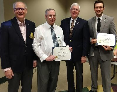 Page 10 Chapter Events - April 26 Libr ar y Center Award Presentation Fr om L to R: Com patr iot Ken Law r ence, John Ruther for d, Com patr iot Geor ge