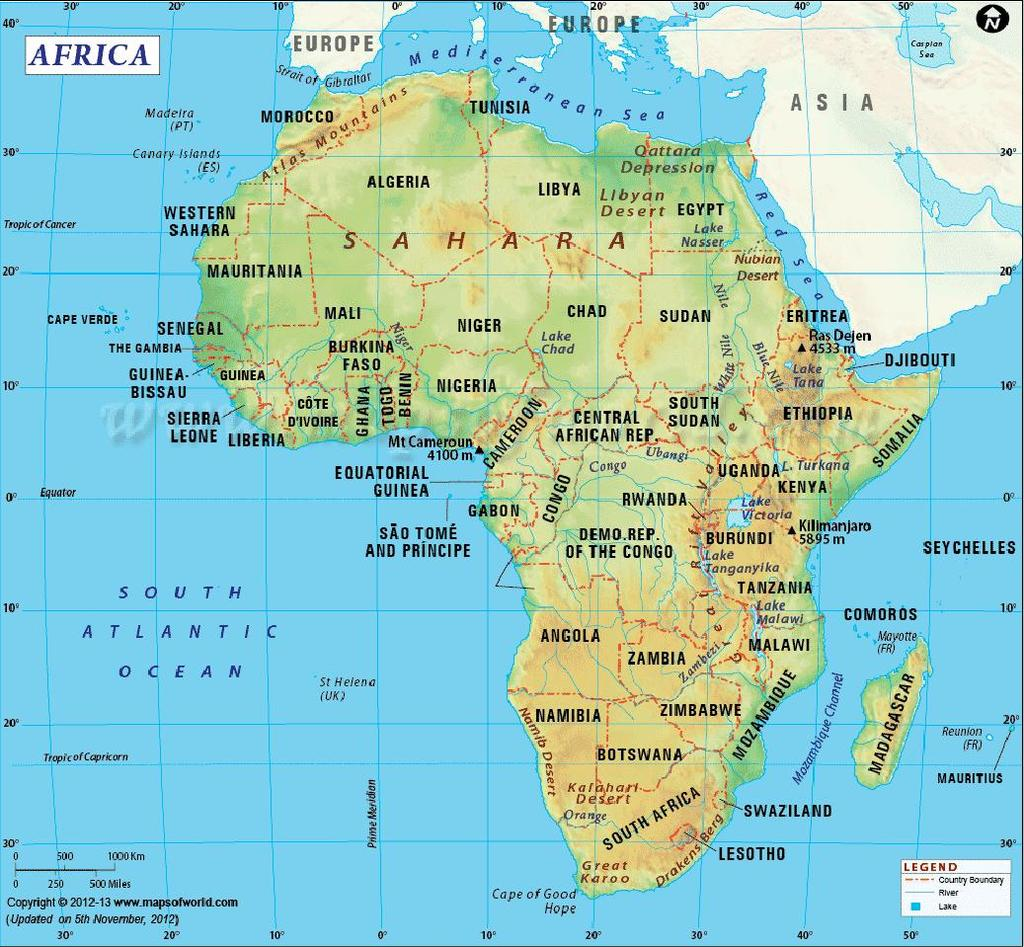 KENYA ON THE AFRICAN MAP Equator divides the