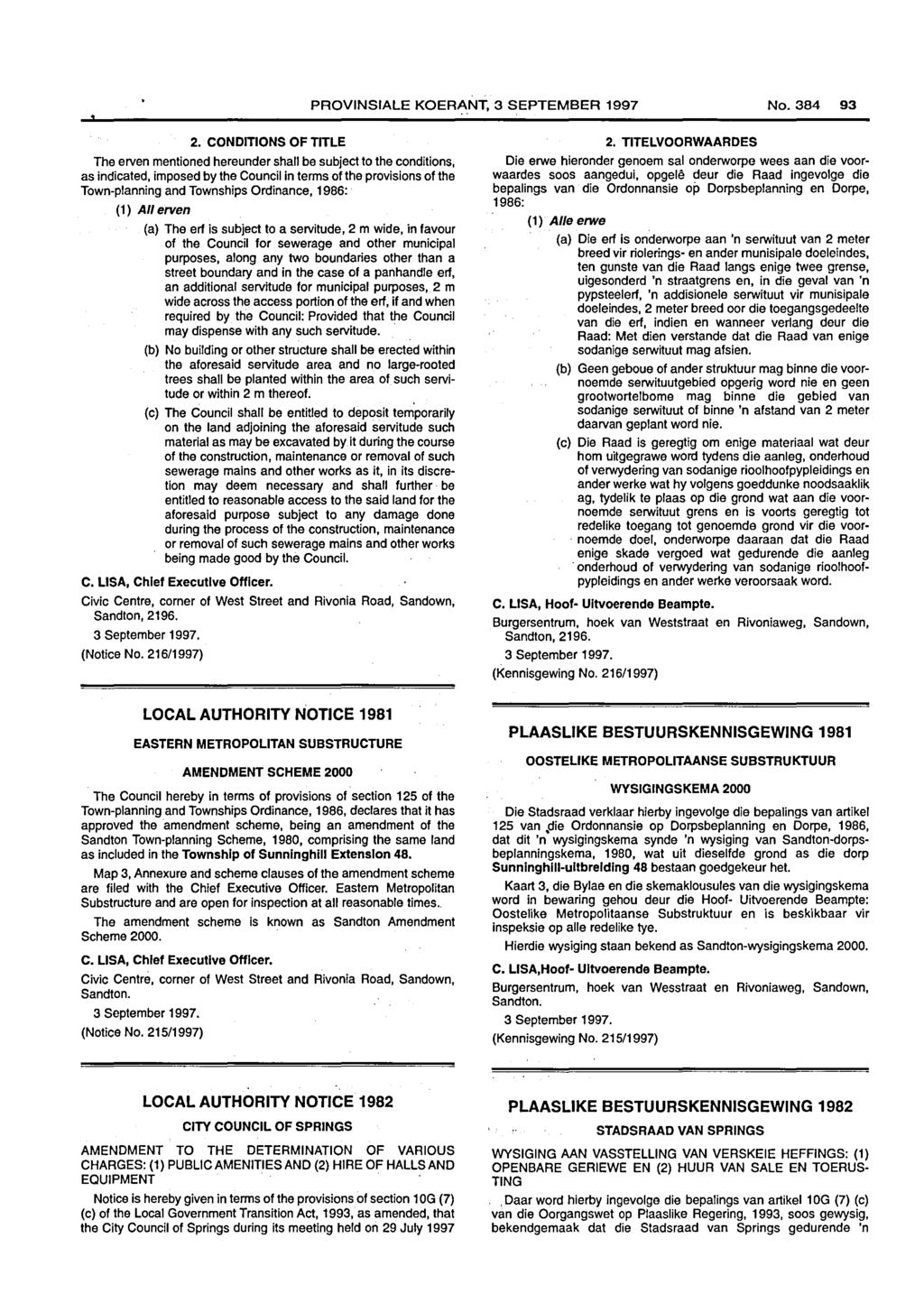 PROVINSIALE KOERANT, 3 SEPTEMBER 1997 No. 93 2.
