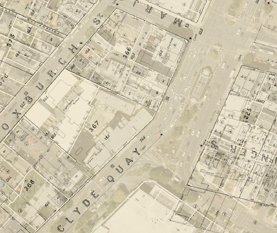 An excerpt from Thomas Ward s Survey (1891) of Wellington, overlaid on a recent aerial map of the City, showing Town Acre 366 as mentioned in the text.