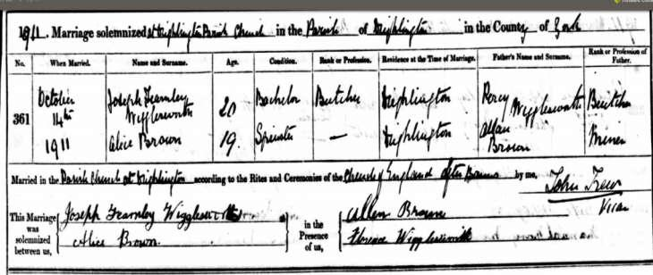 A copy of the marriage certificate for Joseph Wigglesworth.