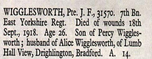 By the time of his death the Wigglesworth parents had moved to Lumb Hall View in Drighlington.