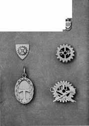(Upper left) Other Jewelry: Creek-Ietter recognition button (Top center) Coat of arms recognition button (Top right) Alumni charm (