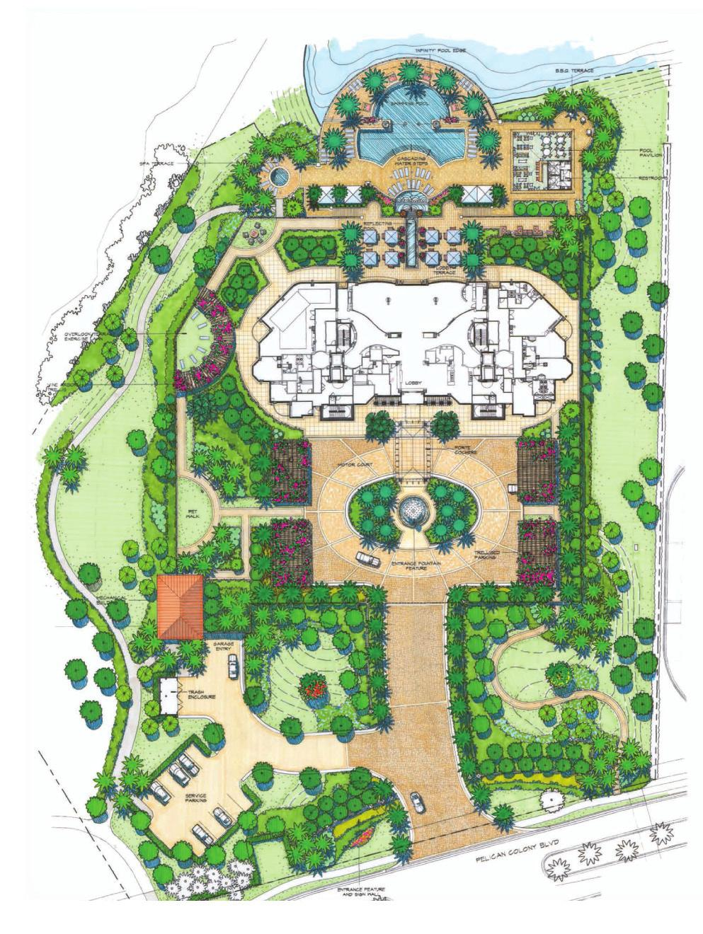 SITE PLAN YOUR P R I V AT E OASIS Lushly landscaped arrival court with porte cochere entry Private