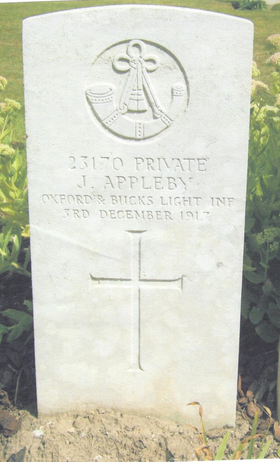 James Appleby 17 th July 1897-3 rd December 1917 Died from his wounds at a
