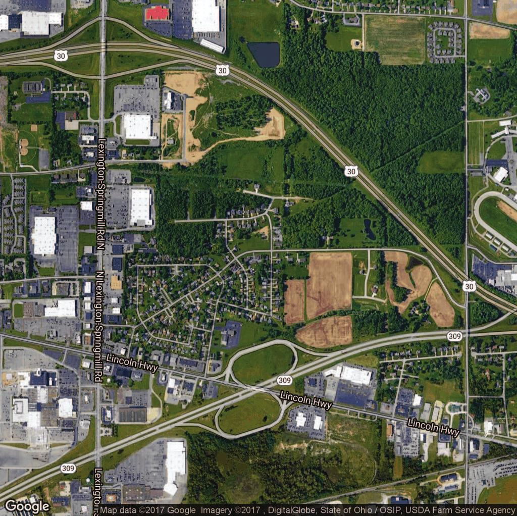 AERIAL MAP 1881 ROSEWOOD DRIVE, MANSFIELD, OH 44906 Westwood Manor