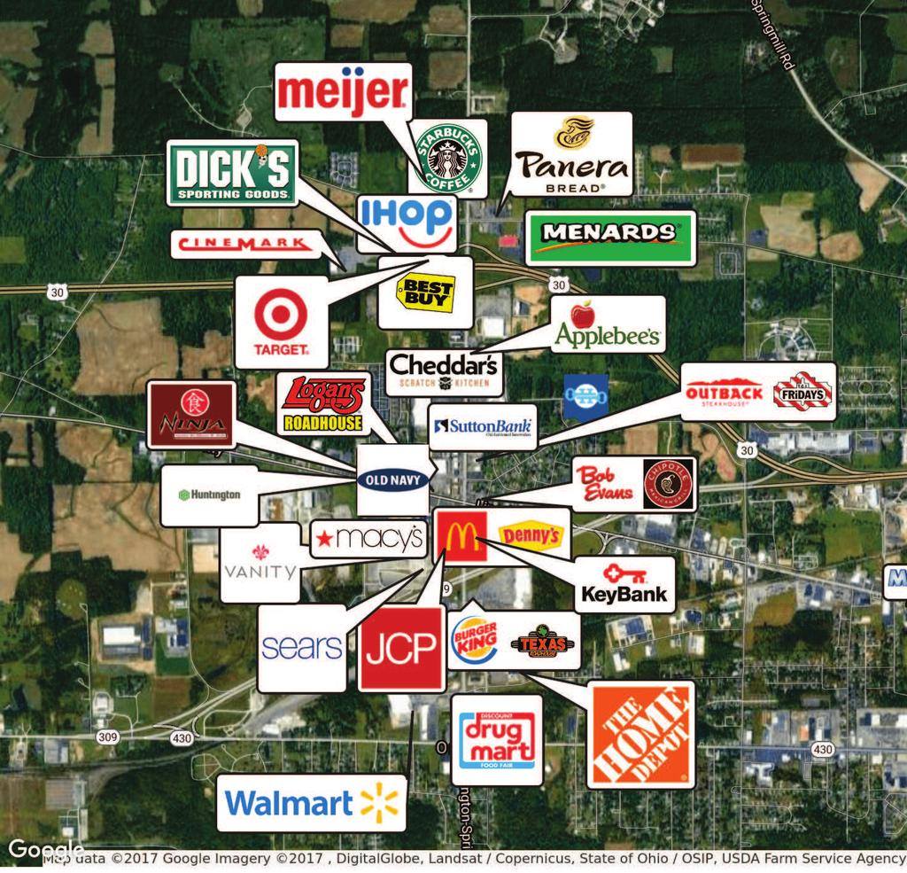 RETAILER MAP - WESTWOOD 1881 ROSEWOOD DRIVE, MANSFIELD, OH