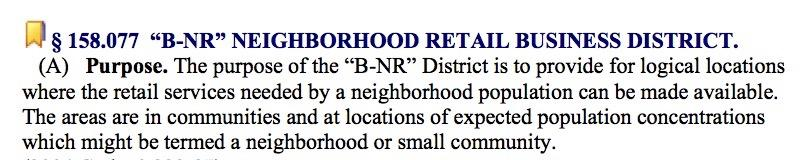 "Notice, first of all, that the word ""neighborhood"" appears in the title of the B-NR classification. That's what the N stands for."