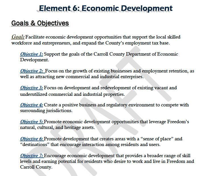 "Objective 5 favors projects which ""promote economic development opportunities."" In fact, a seventh grocery store may actually have a net negative impact on the local Eldersburg economy."