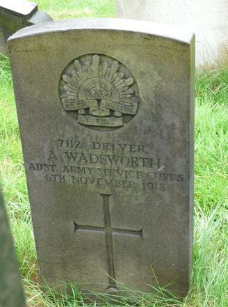 Photo of Driver A. Wadsworth s Commonwealth War Graves Commission Headstone in St.